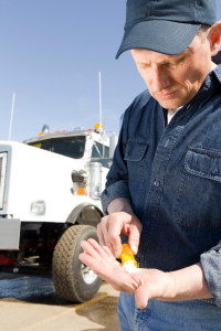 A hurt trucker taking pain pills